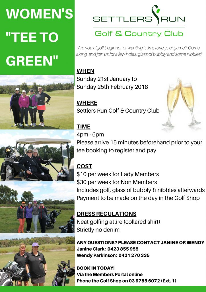 WOMEN'S 'TEE TO GREEN' BEGINNERS GOLF