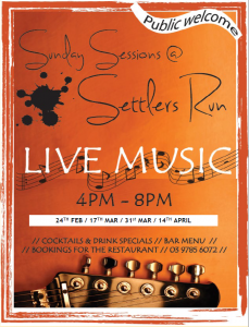 Settlers Run Sunday Sessions