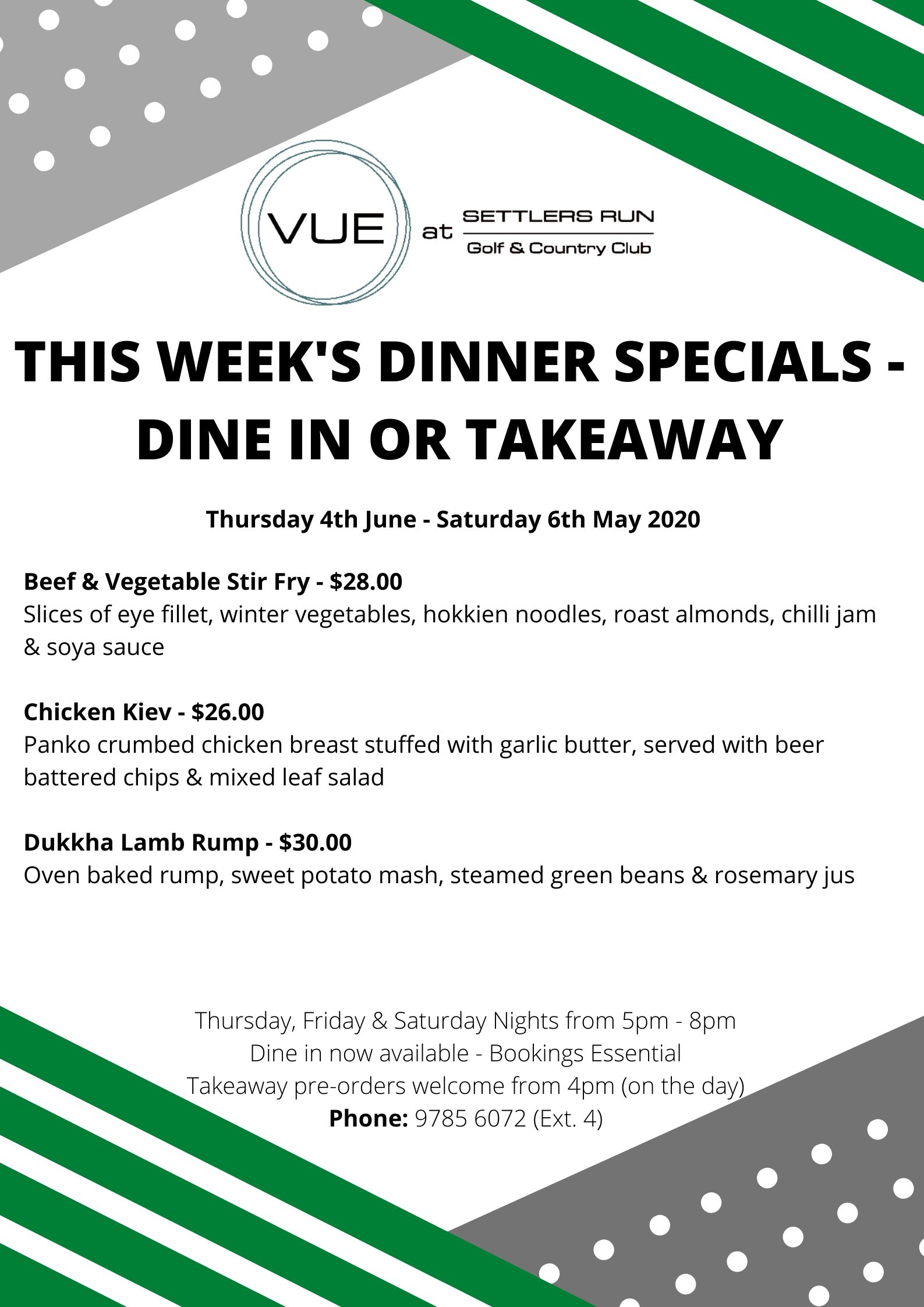 This Week's Take Away Specials