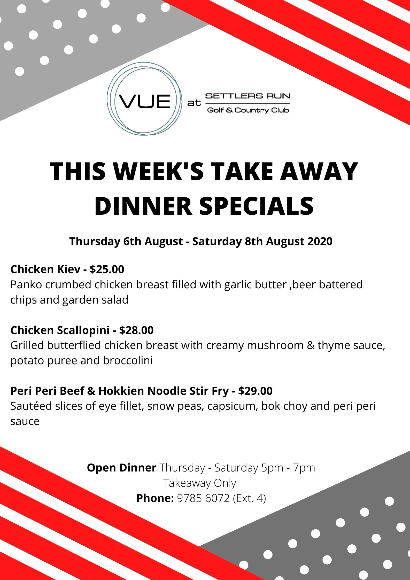 This Week's Take Away Dinner Specials